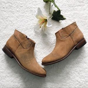 Matisse Distressed Suede Ankle Booties Boots Brown